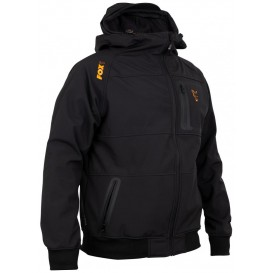 FOX Collection Black/Orange Shell Hoodie - softšelová bunda