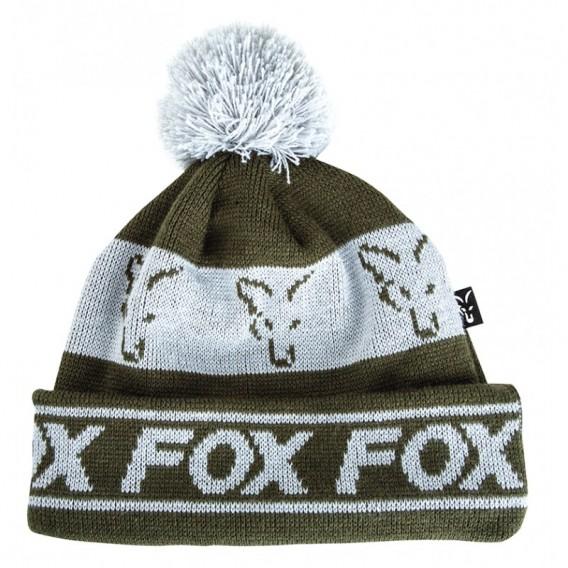 FOX Green/Silver Lined Bobble Hat - čiapka s brmbolcom