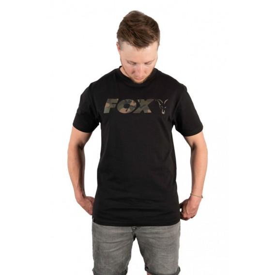 FOX Black/Camo Chest Print T-Shirt - tričko
